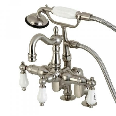 Kingston Brass CC6017T8 Clawfoot Tub Filler With Hand Shower, Brushed Nickel