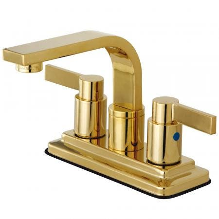 Kingston Brass KB8462NDL NuvoFusion 4-Inch Centerset Bathroom Faucet, Polished Brass