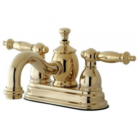 Kingston Brass KS7102TL 4 in. Centerset Bathroom Faucet, Polished Brass