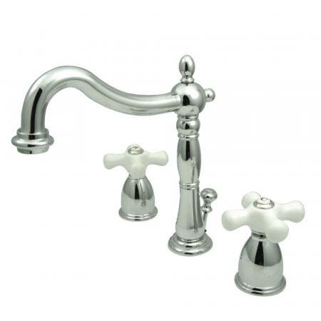 Kingston Brass KB1971PX Heritage Widespread Bathroom Faucet with Plastic Pop-Up, Polished Chrome