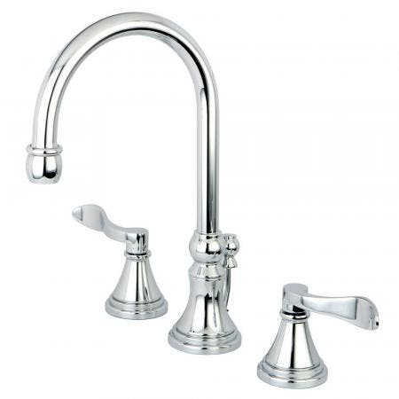 Kingston Brass KS2981DFL NuFrench Widespread Bathroom Faucet with Brass Pop-Up, Polished Chrome