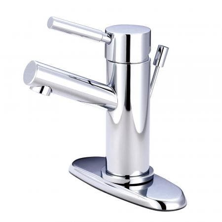 Kingston Brass KS8421DL Concord Single-Handle Bathroom Faucet with Brass Pop-Up and Cover Plate, Polished Chrome