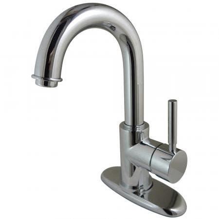 Kingston Brass KS8431DL Concord Single-Handle Bathroom Faucet with Push Pop-Up and Cover Plate, Polished Chrome