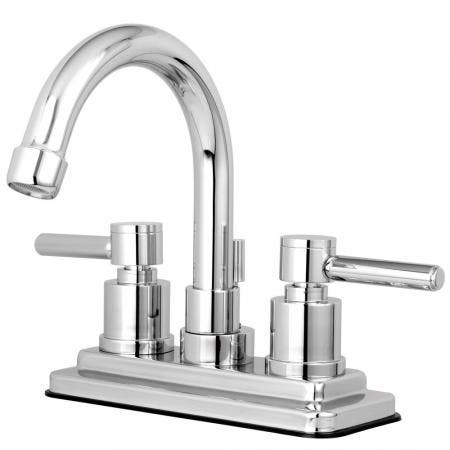 Kingston Brass KS8661DL Concord 4 in. Centerset Bathroom Faucet with Brass Pop-Up, Polished Chrome