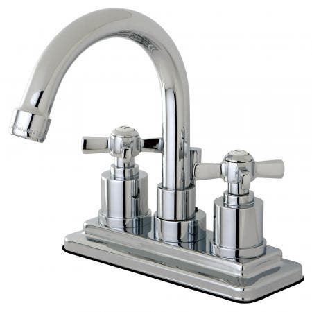 Kingston Brass KS8661ZX Millennium 4 in. Centerset Bathroom Faucet with Brass Pop-Up, Polished Chrome