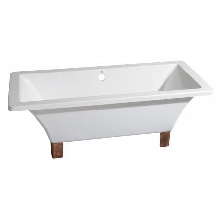 Aqua Eden 71-Inch Acrylic Square Clawfoot Tub with Feet No Faucet Drillings, White/Naples Bronze