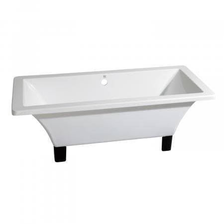 Aqua Eden 71-Inch Acrylic Square Clawfoot Tub with Feet No Faucet Drillings, White/Oil Rubbed Bronze