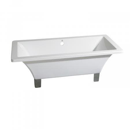 Aqua Eden 71-Inch Acrylic Square Clawfoot Tub with Feet No Faucet Drillings, White/Brushed Nickel