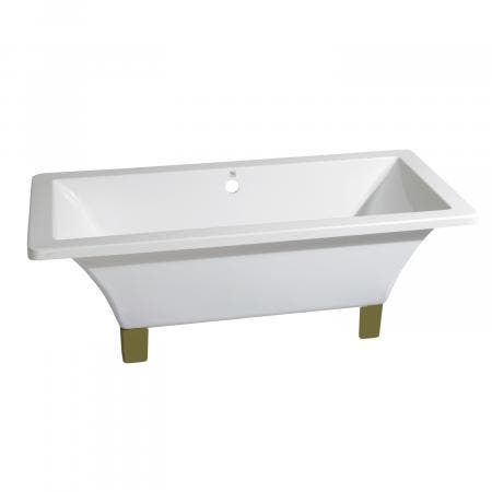 Aqua Eden 71-Inch Acrylic Square Clawfoot Tub with Feet No Faucet Drillings, White/Polished Brass