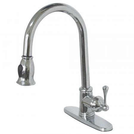 Gourmetier GS7881BL Vintage Pull-Down Single-Handle Kitchen Faucet, Polished Chrome