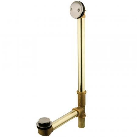 """Kingston Brass PDTT2188 18"""" Tub Waste with Overflow with Tip Toe Drain, Brushed Nickel"""