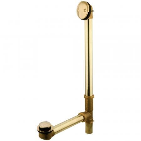 """Kingston Brass PDTT2182 18"""" Tub Waste with Overflow with Tip Toe Drain, Polished Brass"""