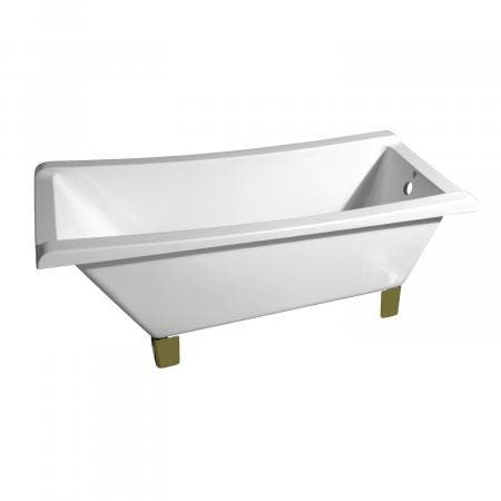 Aqua Eden 67-Inch Acrylic Square Clawfoot Tub with Feet No Faucet Drillings, White/Polished Brass