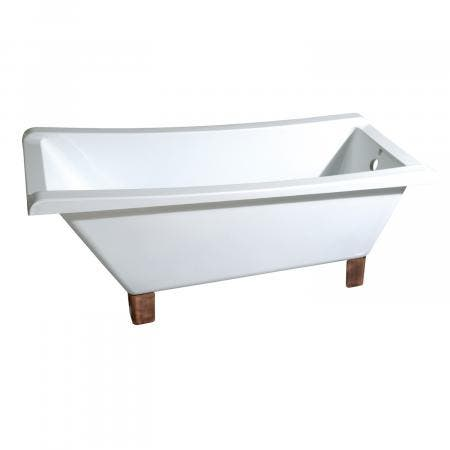 Aqua Eden 67-Inch Acrylic Square Clawfoot Tub with Feet No Faucet Drillings, White/Naples Bronze