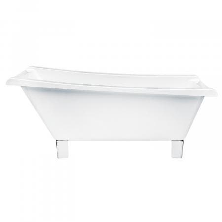 Aqua Eden 67-Inch Acrylic Square Clawfoot Tub with Feet No Faucet Drillings, White/Polished Chrome