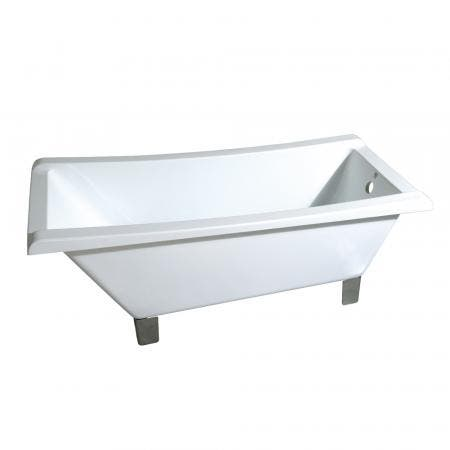 Aqua Eden VTRF673018A8 67-Inch Acrylic Single Slipper Clawfoot Tub (No Faucet Drillings), White/Brushed Nickel