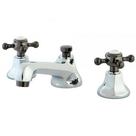 Kingston Brass NS4463BX Widespread Bathroom Faucet, Polished Chrome/Black Stainless Steel