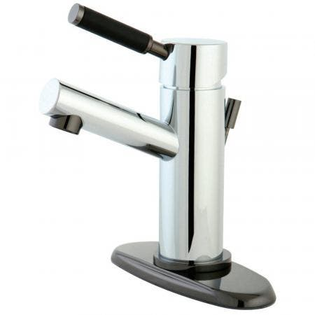 Kingston Brass NS8423DL Water Onyx Single-Handle Bathroom Faucet, Polished Chrome/Black Stainless Steel