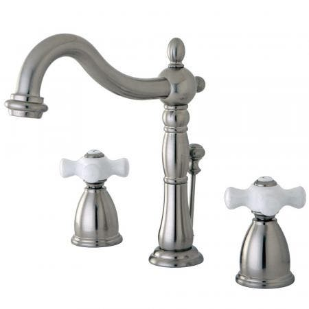 Kingston Brass KB1978PX Heritage Widespread Bathroom Faucet with Plastic Pop-Up, Brushed Nickel