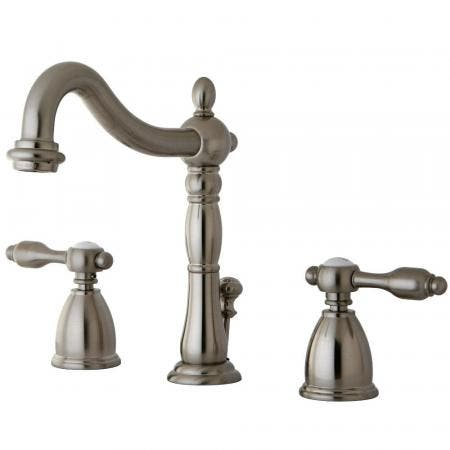 Kingston Brass KB1978TAL Tudor Widespread Bathroom Faucet with Plastic Pop-Up, Brushed Nickel