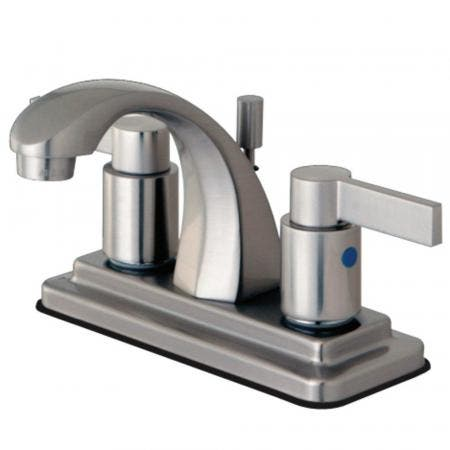 Kingston Brass KB4648NDL 4 in. Centerset Bathroom Faucet, Brushed Nickel