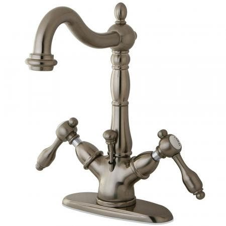 Kingston Brass KS1438TAL Tudor Two-Handle Bathroom Faucet with Brass Pop-Up and Cover Plate, Brushed Nickel