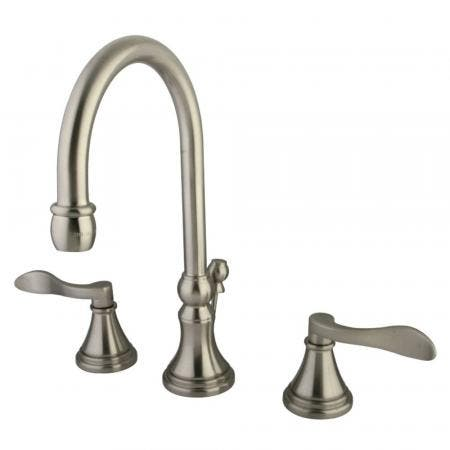 Kingston Brass KS2988DFL NuFrench Widespread Bathroom Faucet with Brass Pop-Up, Brushed Nickel