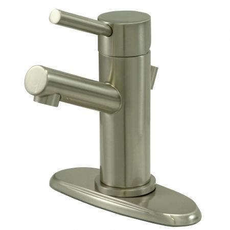 Kingston Brass KS8428DL Concord Single-Handle Bathroom Faucet with Brass Pop-Up and Cover Plate, Brushed Nickel