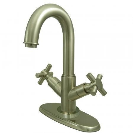 Kingston Brass KS8458JX Concord Two-Handle Bathroom Faucet with Push Pop-Up and Cover Plate, Brushed Nickel