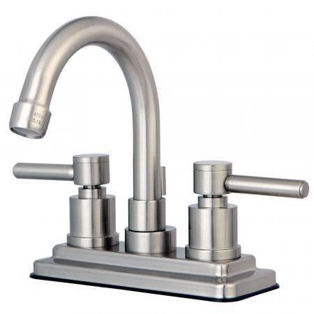 Kingston Brass KS8668DL Concord 4 in. Centerset Bathroom Faucet with Brass Pop-Up, Brushed Nickel