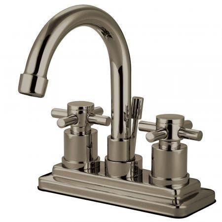 Kingston Brass KS8668DX Concord 4 in. Centerset Bathroom Faucet with Brass Pop-Up, Brushed Nickel