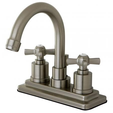 Kingston Brass KS8668ZX Millennium 4 in. Centerset Bathroom Faucet with Brass Pop-Up, Brushed Nickel