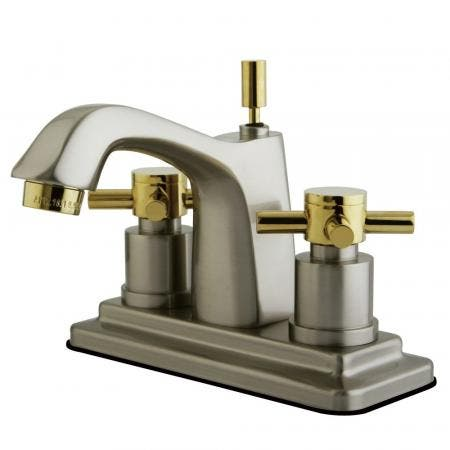 Kingston Brass KS8649DX 4 in. Centerset Bathroom Faucet, Brushed Nickel/Polished Brass