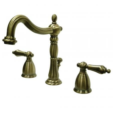 Kingston Brass KB1973AL Heritage Widespread Bathroom Faucet with Brass Pop-Up, Antique Brass