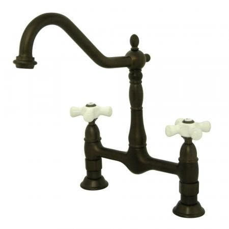 Kingston Brass KS1175PX Heritage Bridge Kitchen Faucet, Oil Rubbed Bronze