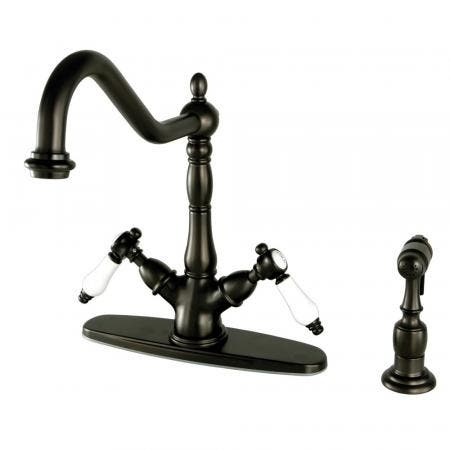 Kingston Brass KS1235BPLBS Mono Deck Mount Kitchen Faucet with Brass Sprayer, Oil Rubbed Bronze