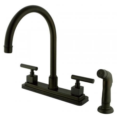 """Kingston Brass KS8795CQL Two-Handle 4-Hole Deck Mount 8"""" Centerset Kitchen Faucet with Side Sprayer in Oil Rubbed Bronze"""