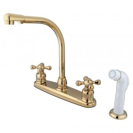 Kingston Brass GKB712AX Victorian Centerset Kitchen Faucet, Polished Brass