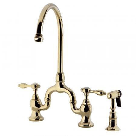 Kingston Brass KS7792TALBS Bridge Kitchen Faucet with Brass Sprayer, Polished Brass