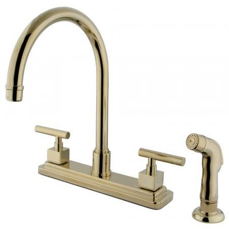 "Kingston Brass KS8792CQL Two-Handle 4-Hole Deck Mount 8"" Centerset Kitchen Faucet with Side Sprayer in Polished Brass"