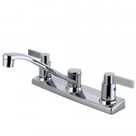 """Kingston Brass FB2121NDL NuvoFusion 2-Handle 8"""" Centerset Kitchen Faucet, Polished Chrome"""