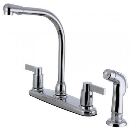 Kingston Brass FB2751NDLSP NuvoFusion 8-Inch Centerset Kitchen Faucet with Sprayer, Polished Chrome