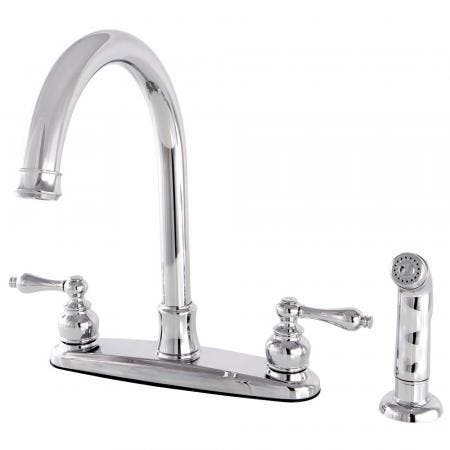Kingston Brass FB7791ALSP Victorian 8-Inch Centerset Kitchen Faucet with Sprayer, Polished Chrome