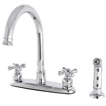 Kingston Brass FB7791AXSP Victorian 8-Inch Centerset Kitchen Faucet with Sprayer, Polished Chrome