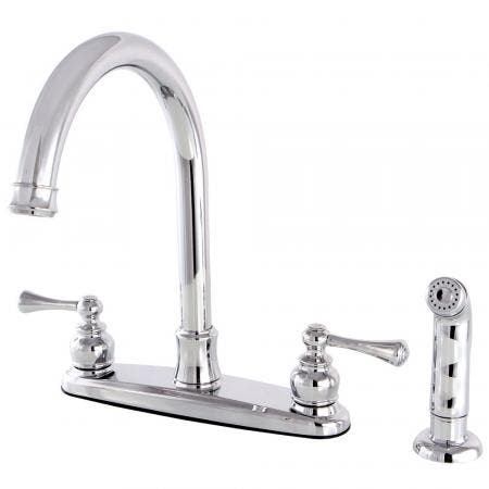 Kingston Brass FB7791BLSP Vintage 8-Inch Centerset Kitchen Faucet with Sprayer, Polished Chrome