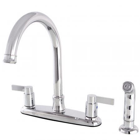 Kingston Brass FB7791NDLSP NuvoFusion 8-Inch Centerset Kitchen Faucet with Sprayer, Polished Chrome