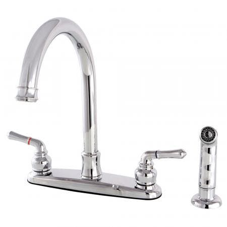 Kingston Brass FB7791NMLSP Naples 8-Inch Centerset Kitchen Faucet with Sprayer, Polished Chrome
