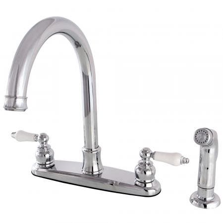 Kingston Brass FB7791PLSP Victorian 8-Inch Centerset Kitchen Faucet with Sprayer, Polished Chrome