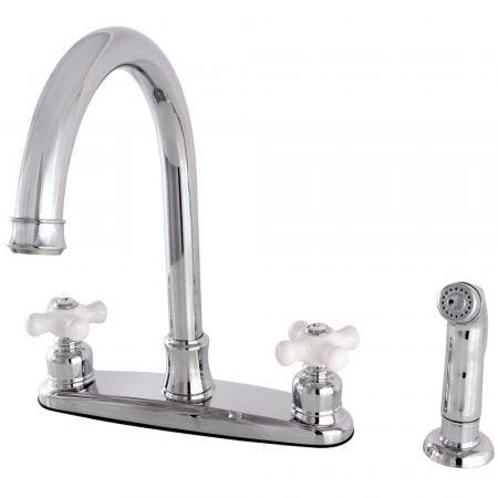 Kingston Brass FB7791PXSP Victorian 8-Inch Centerset Kitchen Faucet with Sprayer, Polished Chrome
