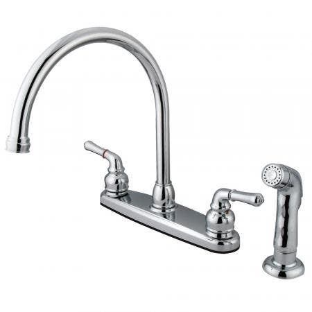 Kingston Brass FB791SP Magellan 8-Inch Centerset Kitchen Faucet with Sprayer, Polished Chrome